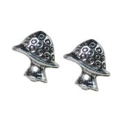 Stud Earrings Sterling Silver - Mushrooms