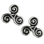 Celtic Triskelion Triple Spiral -Stud Earrings Sterling Silver