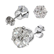 Pair Stainless Steel Round Cut 2 Ct Multi Faceted Grid Cz Stud Earrings