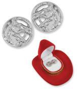 Horse Head Crystal Earrings Cowgirl Glam Western in Red Cowboy Hat Gift Box