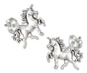 Sterling Silver Mini Trotting Unicorn Earrings on Posts