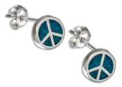 Sterling Silver Mini Turquoise Peace Sign Earrings