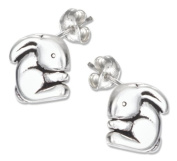 Sterling Silver Mini Rounded Bunny Earrings on Posts