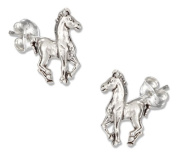 Sterling Silver Mini Prancing Horse Earrings on Posts