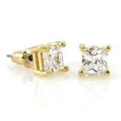 10mm 4.00ctw Solid 14k Gold Layered Princess Square Radiant Cut Cz 4 Prong Basket Stud Earrings