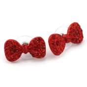 Cute Lovely Red Ribbon Bow Tie Bowknot Stud Post Earrings Fashion Jewellery