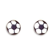 Soccer Ball Stud Post Sterling Silver Earrings
