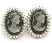 Light Grey Cameo Stud Post Pierced Earrings White Faux Pearl Silver Tone NEW Romantic Fashion Jewellery