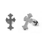 316L Surgical Stainless Steel 8MM Florentine Cross Stud Earrings For Men Women Unisex