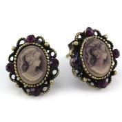 Small Plum Violet Purple Cameo Stud Post Pierced Earrings Antique Design NEW Romantic Cameo Jewellery