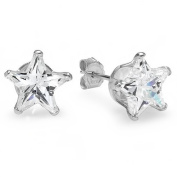 APRIL Birthstone Clear White Simulated Star Cut Diamond Cubic Zirconia Sterling Silver 8 mm Stud Earrings