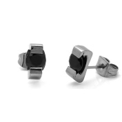 316L Surgical Stainless Steel Round Black Cubic Zirconia 5MM Stud Earrings For Men Women Unisex