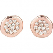 Beautiful Rose Gold Tone and Crystal Pave Organic Disc Earrings
