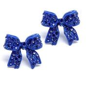 Fashion Crystal Pave Bow Ribbon Stud Earrings Blue