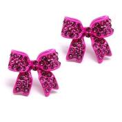 Fashion Crystal Pave Bow Ribbon Stud Earrings Fuschia