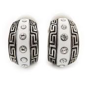 Small C-Shape Greek Style White Enamel Clip On Earrings