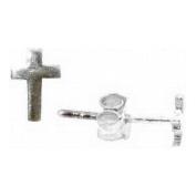 Christian Sterling Silver Unisex Christian Cross Stud Earrings - Purity, Chastity Earrings