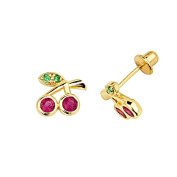 14K Yellow Gold Plated 7mm(H)x8mm(W) CZ Cherry Stud Earrings with Screw-back