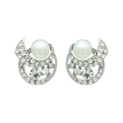 Bridal Wedding Jewellery Crystal Rhinestone Pearl Simple Stud Earrings Silver