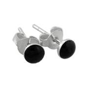 Sterling Silver 4mm Black Onyx Stud Earrings