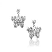 Silver Plated Crystal Dangling Flying Butterfly Earrings