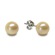 Sterling Silver 8mm Shell Pearl Stud Earrings, Cream