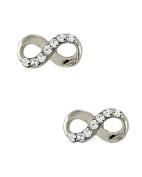Silver Tone Clear Rhinestone Infinity Post Closure Earrings