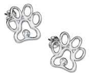 Sterling Silver Paw Print Silhouette Earrings with Cubic Zirconia Accent