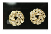 Gold Plated Link Cluster Earrings - Fashion Clip On Earrings