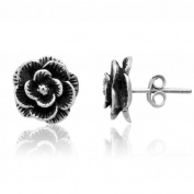 Sterling Silver Oxidised Tarnish-Free Rose Stud Earrings