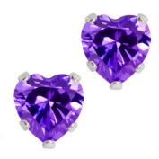 3.00 Ct .925 Sterling Silver Purple Amethyst CZ Heart Shape Stud Earrings 6MM