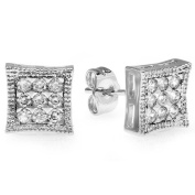 Platinum Plated Stud Earrings 8mm Kite Shaped White Round Cubic Zirconia Pushback Post