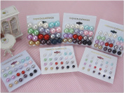 Colour Bead Faux Pearl Stud Earrings, Wholesale lot of 72 Pairs, Mix Colour and Size