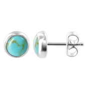 AAES033 Sterling Silver 6mm Round Reconstituted Turquoise Back Post Stud Earrings