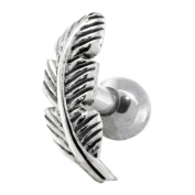 RIGHT EAR - Nature Leaf Sterling Silver Cartilage Piercing Earring Stud