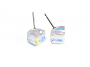 Aurora Boreale Tilted Cube. Elements Stud Earrings, 8mm