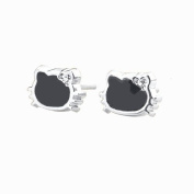 Extra Small Kitty Stud Earring Set in Black and White