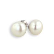 Sterling Silver 8mm White Freshwater Cultured Pearl Button Stud Earrings