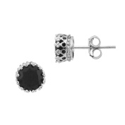 Sterling Silver Black Spinel Round Stud Post Earrings