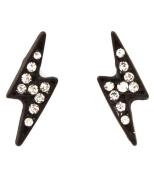 Black Lightning Bolt Post Earrings