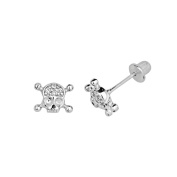 .925 Sterling Silver Rhodium Plated 5.5mm(H)x7.2mm(W) CZ Skull and Bones Basket Stud Earrings with Screw-Back