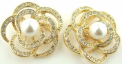 Gold Tone Pave Crystal Faux Pearl Flower Stud Earrings