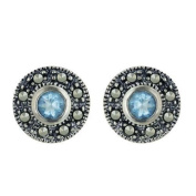 Sterling Silver Marcasite 4mm round Blue Glass Stud Earrings
