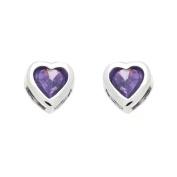 14K White Gold Plated Sterling Silver Purple Heart CZ Stud Screw Back Earrings For Children & Women