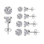 Classic 5 Peace Sparkling 3mm 4mm 5mm 6mm & 7mm Clear Round Cubic Zirconia 925 Sterling Silver Stud Earring Set, Nickle Free. Includes free gift box.