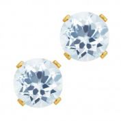 0.88 Ct Round Shape Sky Blue Aquamarine Yellow Gold Plated Silver Stud Earrings