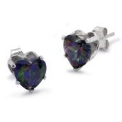 Sterling Silver Mystic Topaz Heart CZ Earrings