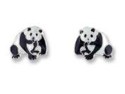 Chinese Giant Panda Bear Sterling Silver and Enamel Earrings