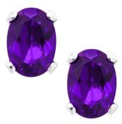 2.30 Ct 8X6MM Purple Amethyst 925 Sterling Silver Stud Earrings