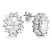 3.00 Carat (ctw) Platinum Plated Base Metal Oval and Round White Cubic Zirconia CZ Ladies Cluster Stud Earrings
